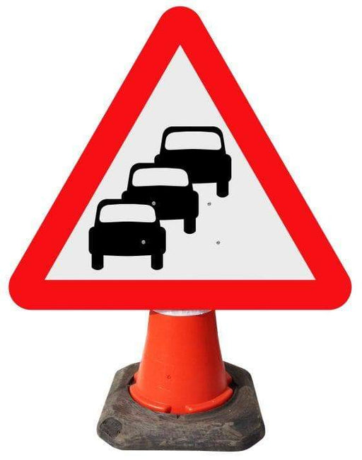 Triangle Cone Sign - Traffic Queues Likely on Road Ahead - 584 (4298896474146)