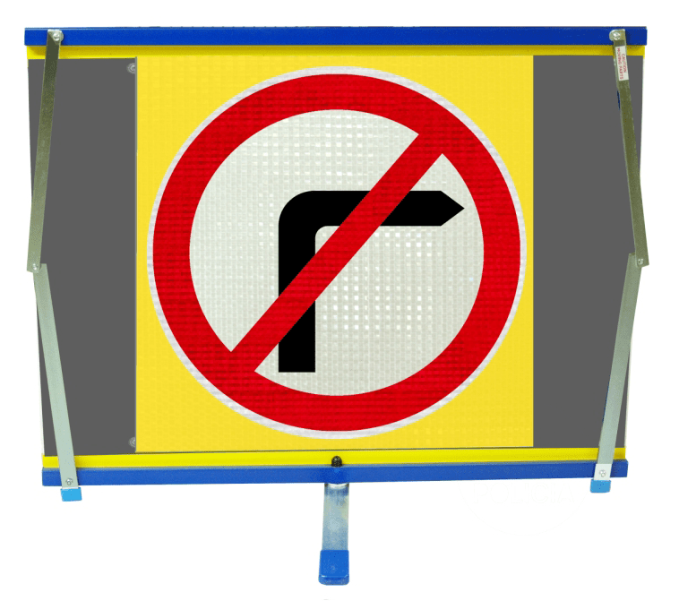 F2 Flexible Fold-Away Sign - No Right Turn - Protect Signs