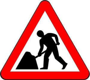 750mm Triangle - Road Works (Men at Work) - 7001 - Rigid Plastic (4133040914466)