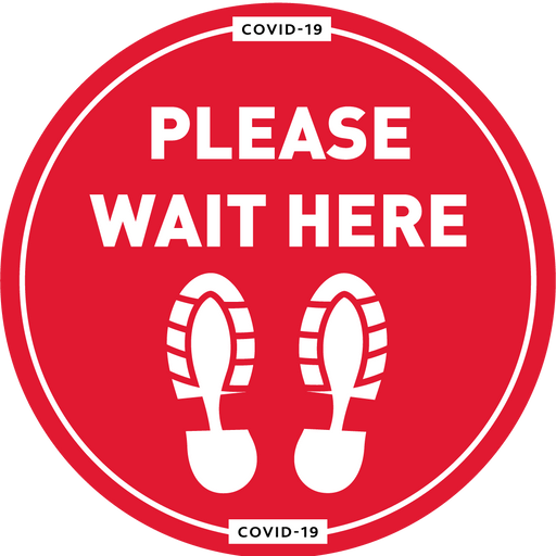 Please Wait Here Floor Vinyl - Protect Signs