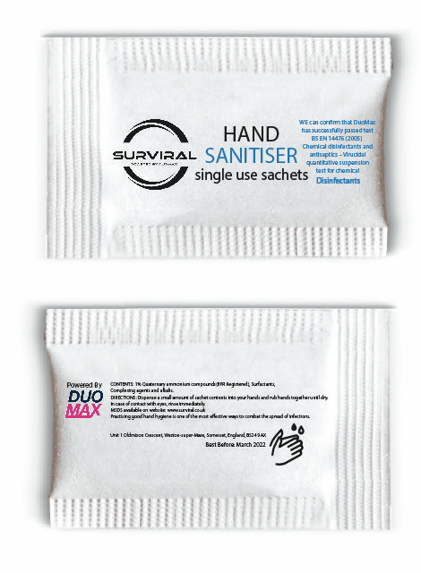 Surviral Hand Sanitiser - Single Use Sachets (4493454245922)