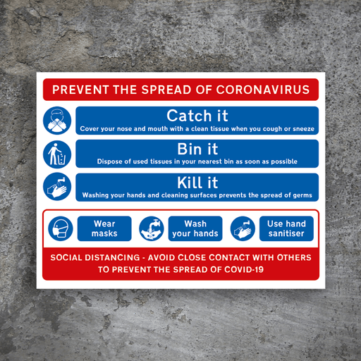 Prevent The Spread Site Safety Sign - Protect Signs