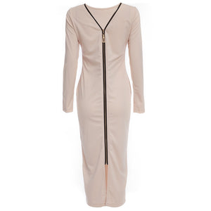 Simple Round Collar Long SLeeve Zipper Design Skinny Midi Dress for Women