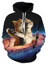 Load image into Gallery viewer, 3D Titanic Cat Galaxy Printed Pullover Drawstring Hoodie