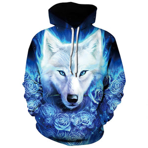 3D Wolf Print Long Sleeve Loose Hoodie Hip Hop Clothes