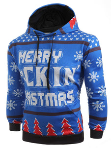 Hooded Christmas Tree and Snowflake Printed Hoodie