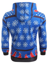 Load image into Gallery viewer, Hooded Christmas Tree and Snowflake Printed Hoodie