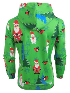 Santa Printed Christmas Tree Drawstring Hoodie