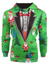 Load image into Gallery viewer, Santa Printed Christmas Tree Drawstring Hoodie