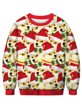 Load image into Gallery viewer, Dog with Christmas Hat Printed Pullover Sweatshirt