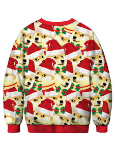 Dog with Christmas Hat Printed Pullover Sweatshirt