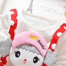 Load image into Gallery viewer, Polka Dot Girl Dress Round Collar Long Sleeve Cartoon Pattern Cotton Children Garment