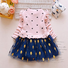Load image into Gallery viewer, Ruffle Leaf Print Girl Dress Stand Collar Long Sleeve Heart Print Mesh Children Garment