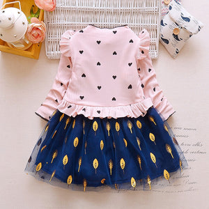 Ruffle Leaf Print Girl Dress Stand Collar Long Sleeve Heart Print Mesh Children Garment
