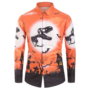 Halloween Printed Casual Long Sleeves Shirt