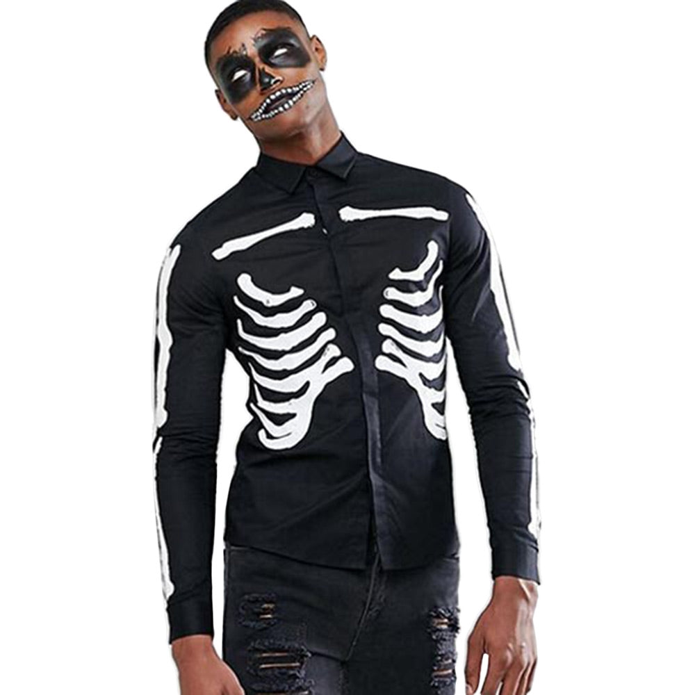 Halloween Skeleton Print Long-sleeved Shirt