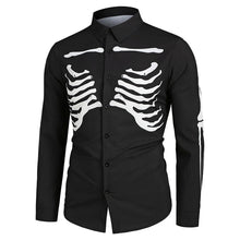 Load image into Gallery viewer, Halloween Skeleton Print Long-sleeved Shirt