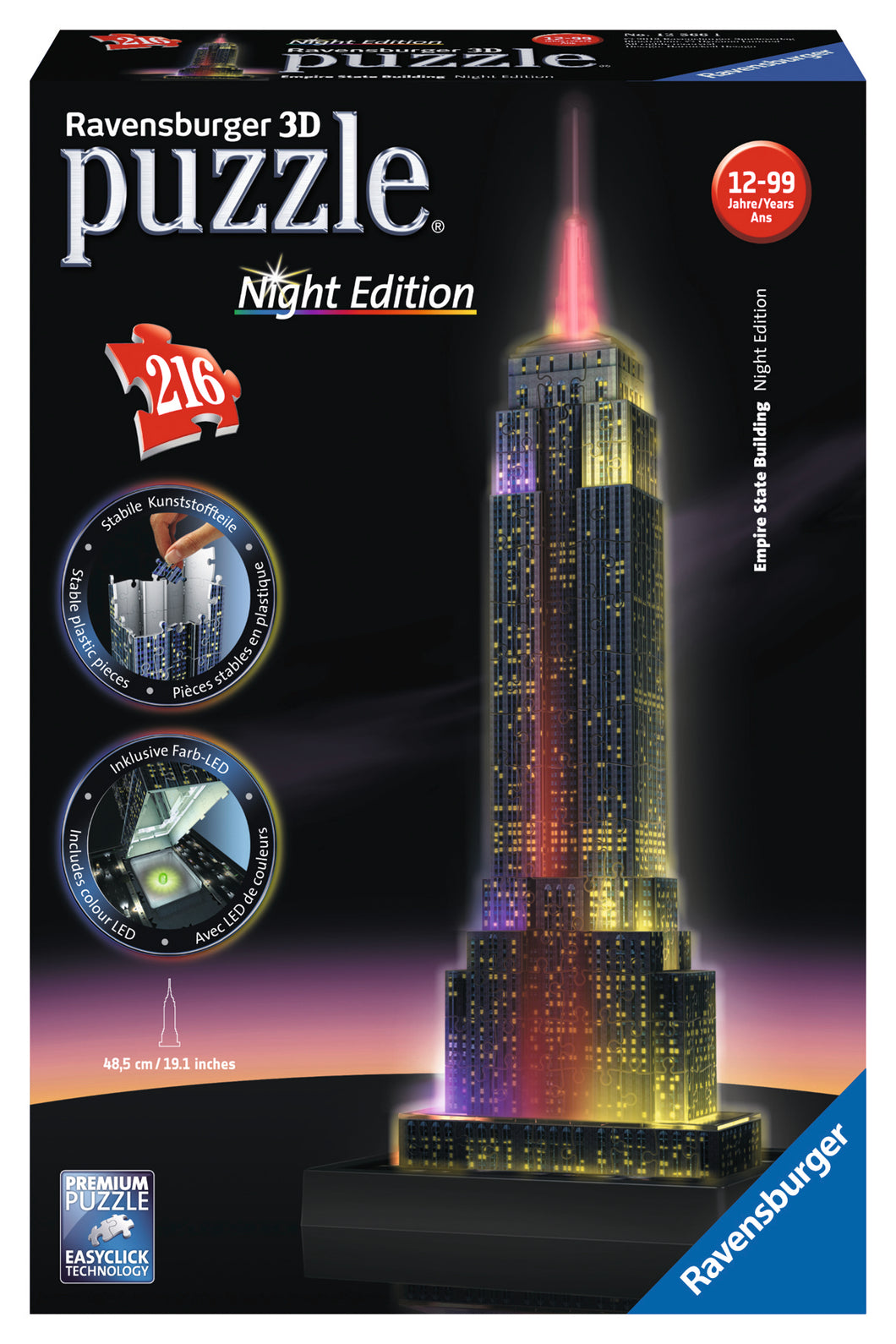 Empire State Building - Night Edition 216pc - 216pc 3D Puzzle