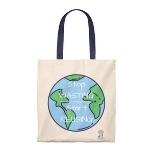 "Open image in slideshow, 100% Cotton Tote Bag.  Cartoon graphic of the earth with ""Stop Wasting, Start Reusing"" in a white overlay.  Navy handle.  Dawn's Home Essentials logo in bottom left corner."