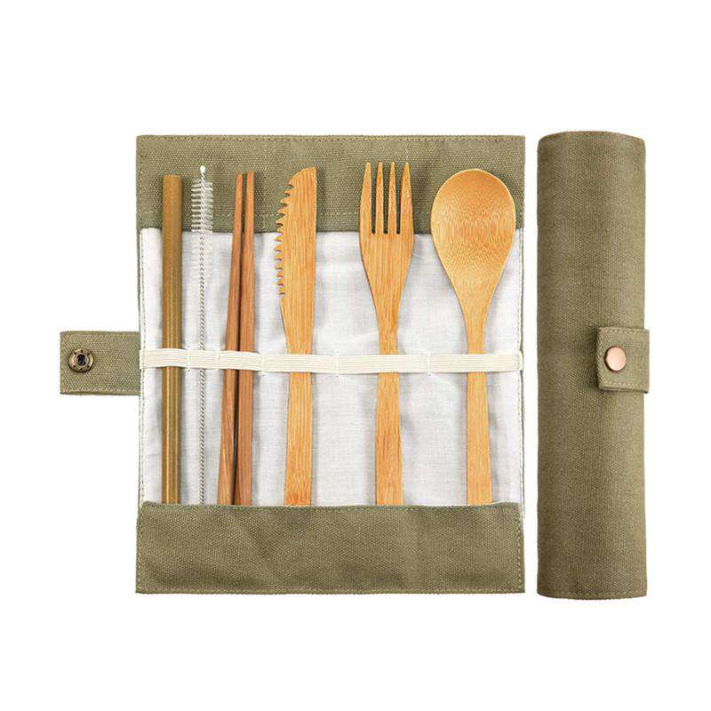 Bamboo set: Straw, cleaning brush, chopsticks, knife, fork, & spoon in a green carrying case.