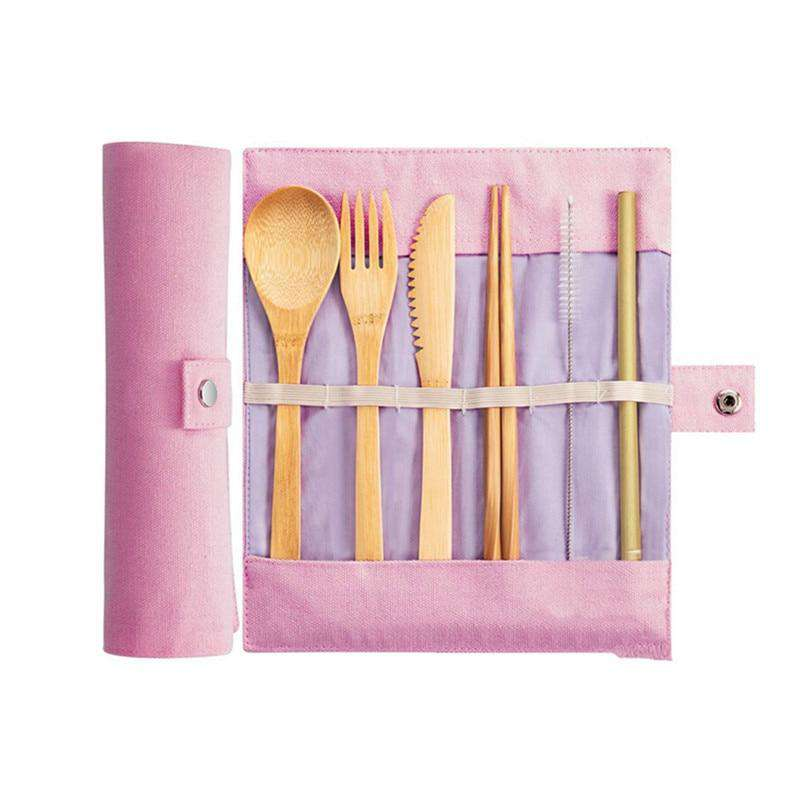 Bamboo set: Straw, cleaning brush, chopsticks, knife, fork, & spoon in a pink carrying case.