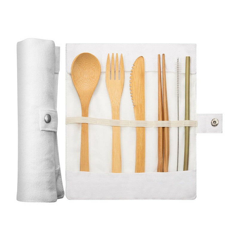 Bamboo set: Straw, cleaning brush, chopsticks, knife, fork, & spoon in a white carrying case.