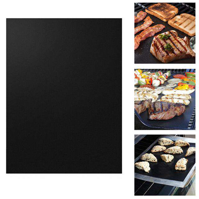 Black BBQ Grill Mat on the left and three pictures of it being used on the right.  Top picture has steak, bacon, and bread.  Middle picture has steak, onions, peppers, kabobs, and hot dogs.  Bottom picture has cookies.