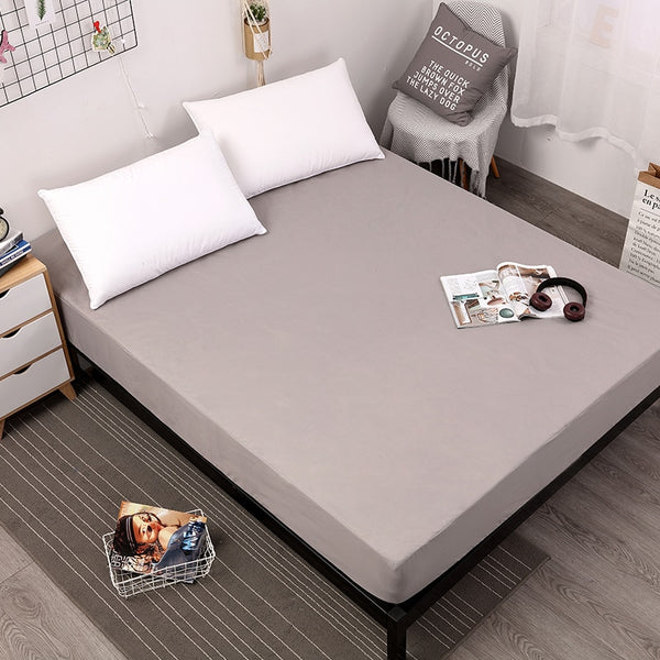 Solid Gray Waterproof Mattress Protector