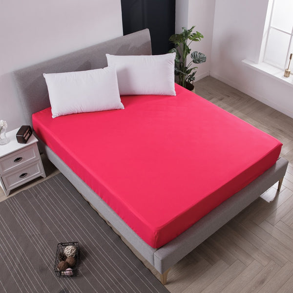 Solid Rose Red Waterproof Mattress Protector