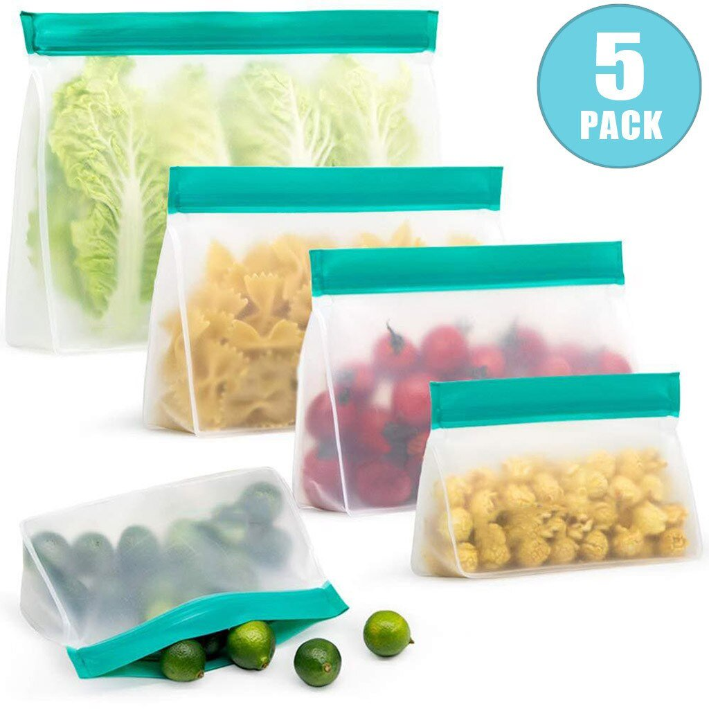 5 Pack of the Reusable Storage Bags (Stand Up) each with a different food item inside of it.  2 small, 2 medium & 1 large.