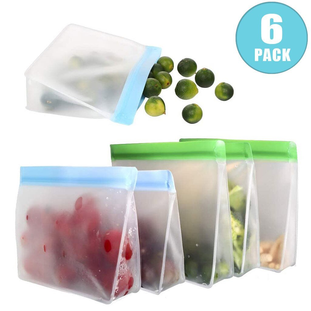 6 Pack of the Reusable Storage Bags (Stand Up) each with a different food item inside of it.  3 medium & 3 large.