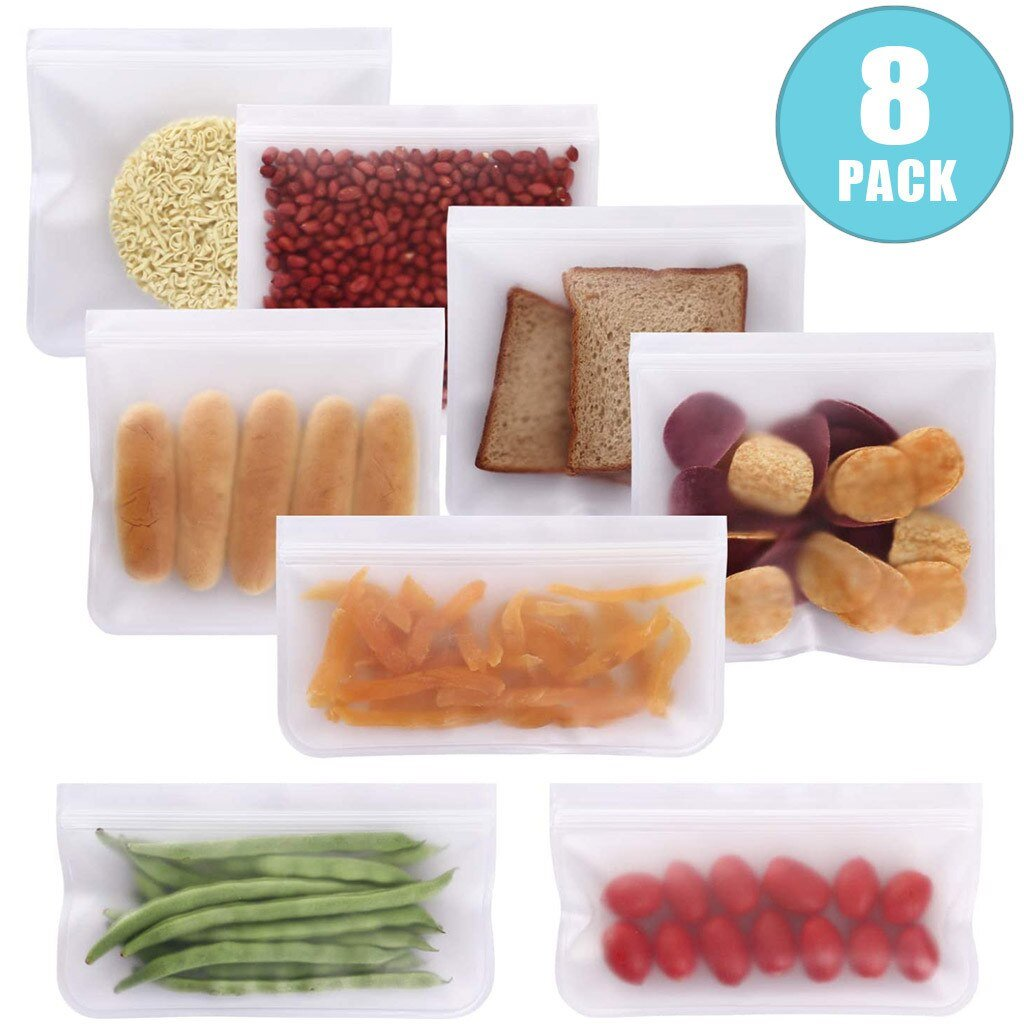 8 Pack of the Reusable Storage Bags (Flat) each with a different food item inside of it.  3 small & 5 large.