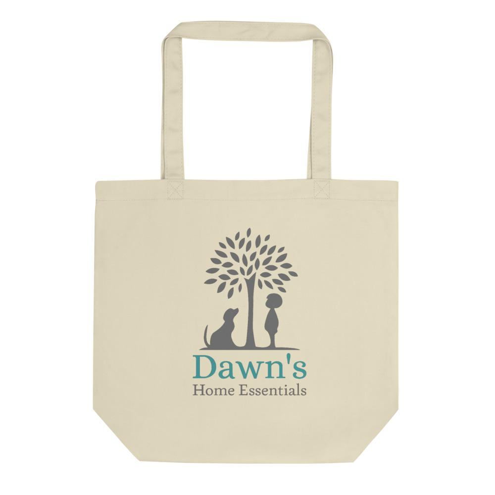 Back of the Small Oyster Tote Bag on a white background.   On it is an image of Dawn's Home Essentials Logo;  A tree with a dog sitting and a child standing, one on each side, both looking up at the tree.  Under the tree says Dawn's in teal and Home Essentials in gray.