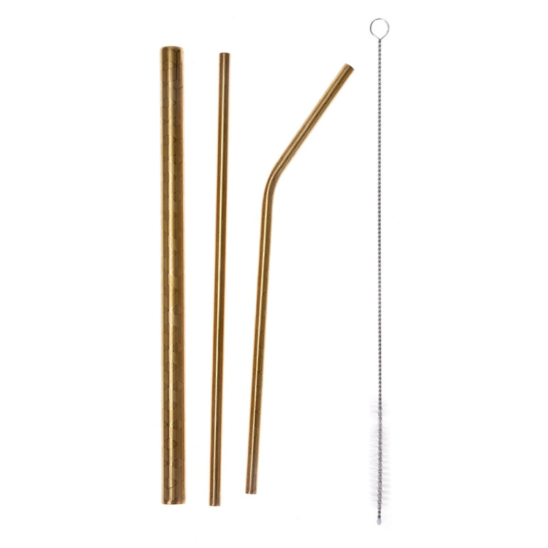 Gold Stainless Steel Straw Set lying on top of a carrying bag.  Left to right; thick straw, thin straw, curved straw, & a cleaning brush.
