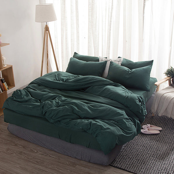 Solid Dark Green Duvet Set
