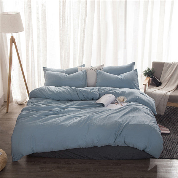 Solid Light Blue Duvet Set