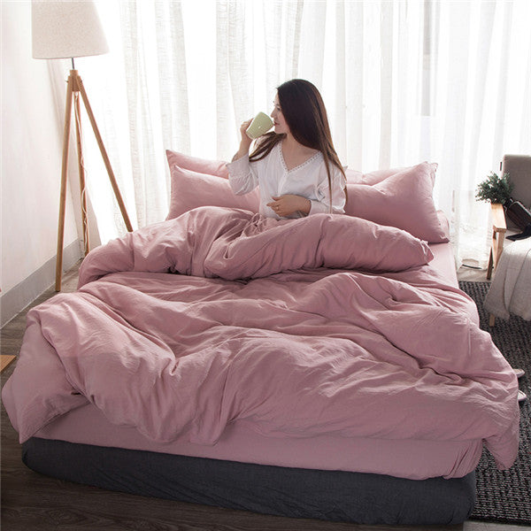 Solid Light Pink Duvet Set