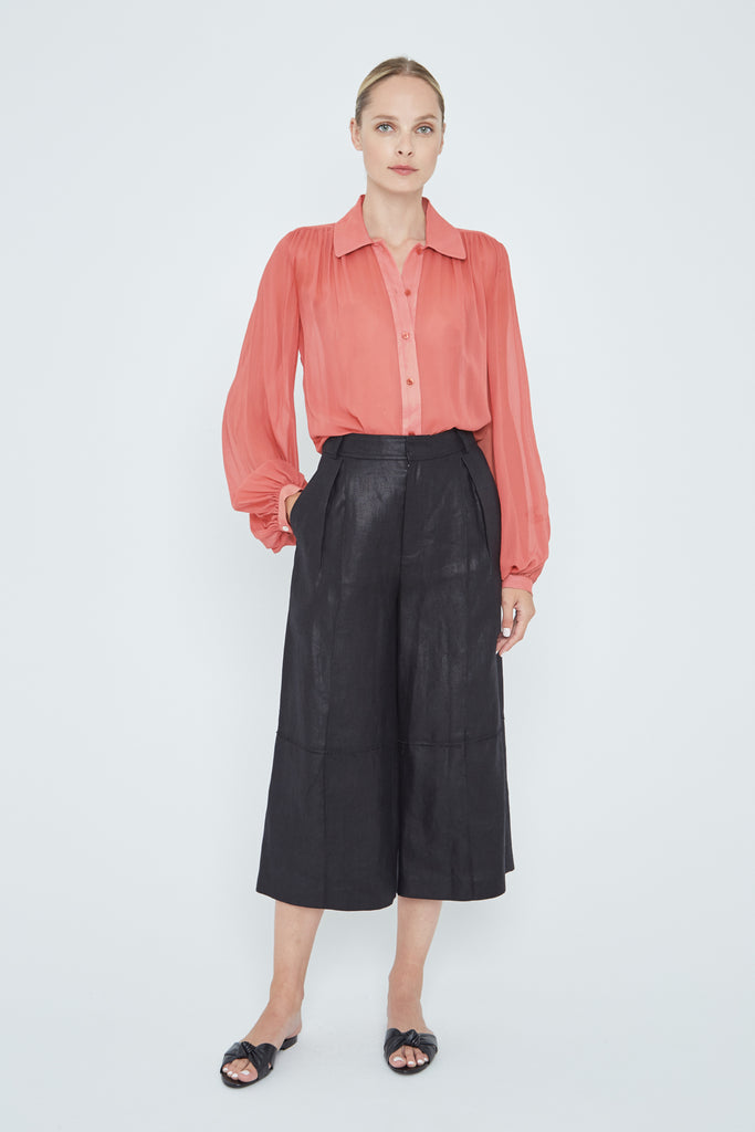 Our Gathered Shoulder Blouse in the color deep pink is a perfect blouse to wear while working from home.