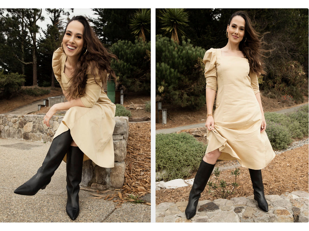 Meena wear ARIAS New York Puff Sleeve dress from the Autumn/Winter '21 collection in the color tan.