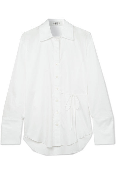 Designer brand side-tie blouse, Wear day-to-night, Made in New York