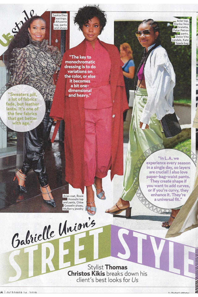 ARIAS Linen Belted Trenchcoat is worn by Gabrielle Union and featured in US Weekly