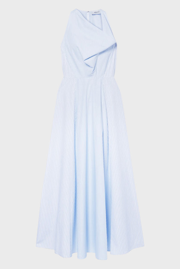 Cowl Neck Dress in Blue Mixed Pinstripe Cotton