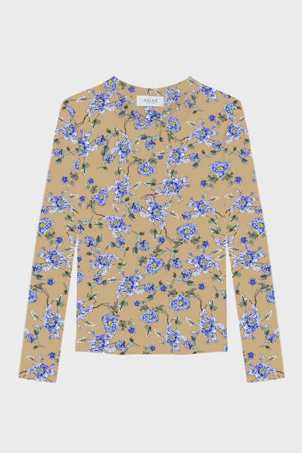 Floral Tailored Knit Long Sleeve Tee