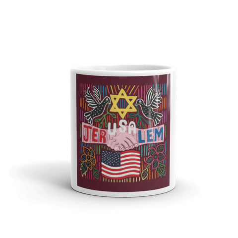 White Coffee Mug with JerUSAlem Design