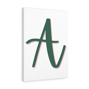 The Letter A - Olive Green With A  Pink Shadow