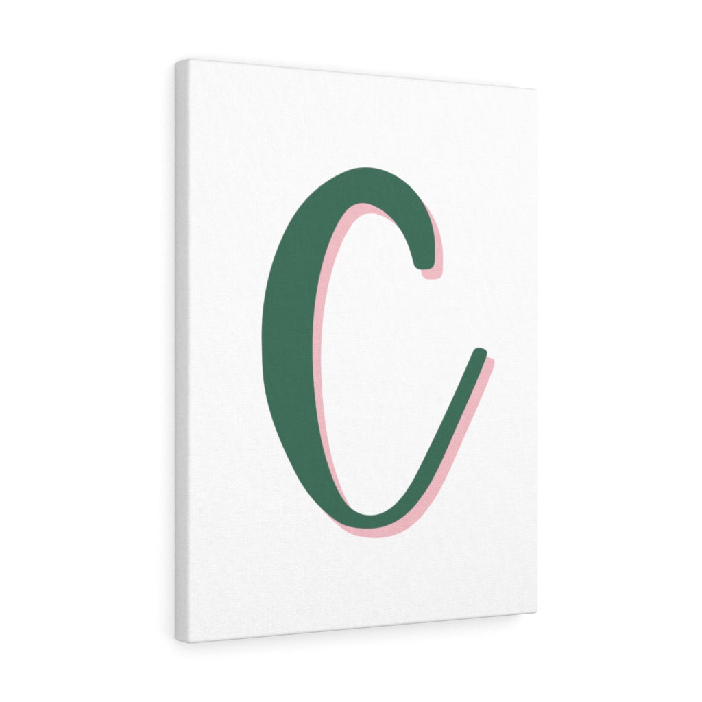 The Letter C - Olive Green With A  Pink Shadow