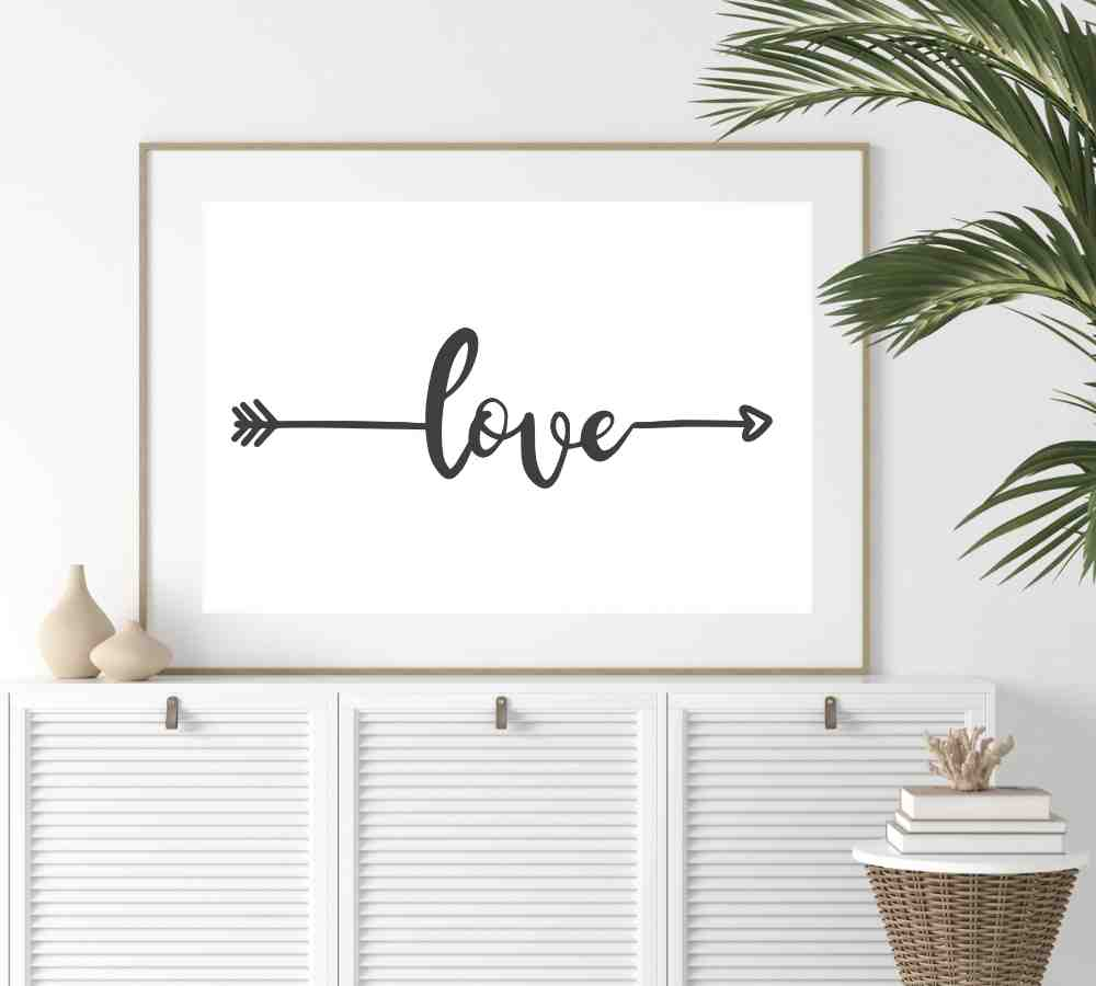 Cute farmhouse love art print for home.