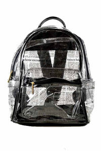 CLEAR NEWSPAPER PRINTED BACKPACK