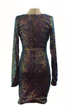 Load image into Gallery viewer, V DIP NECK SEQUIN MINI DRESS