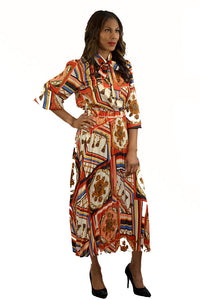 MULTI COLOR PRINTED BLOUSES AND PLEATED SKIRTS SET